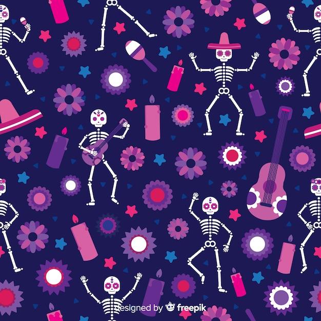 Collection de motifs colorés día de muertos avec design plat Vecteur gratuit