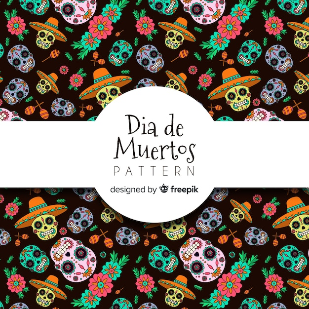 Collection de motifs colorés día de muertos dessinés à la main Vecteur gratuit