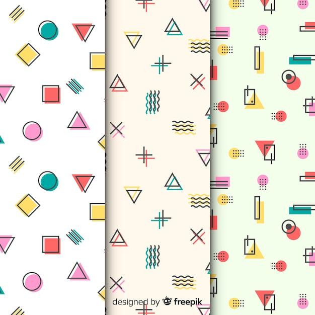 Collection de motifs colorés de memphis Vecteur gratuit