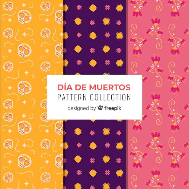 Collection de motifs créatifs día de muertos Vecteur gratuit