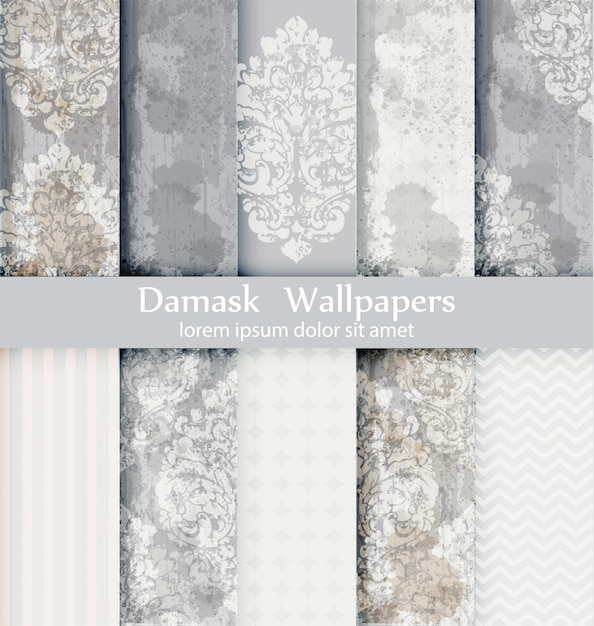 Collection de motifs damassés Vecteur Premium