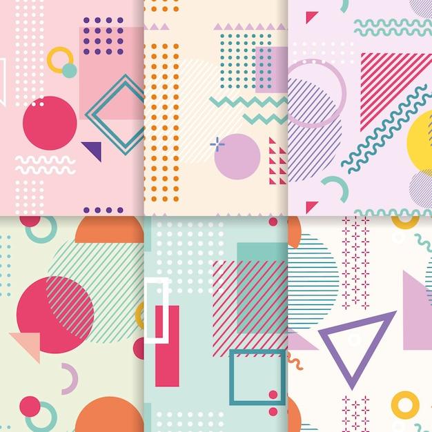 Collection De Motifs Design Memphis Vecteur gratuit