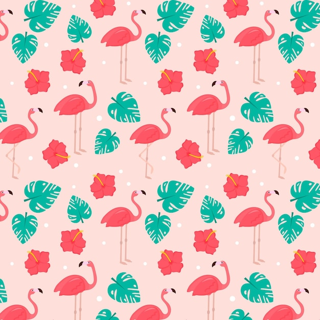 Collection De Motifs Flamingo Vecteur gratuit