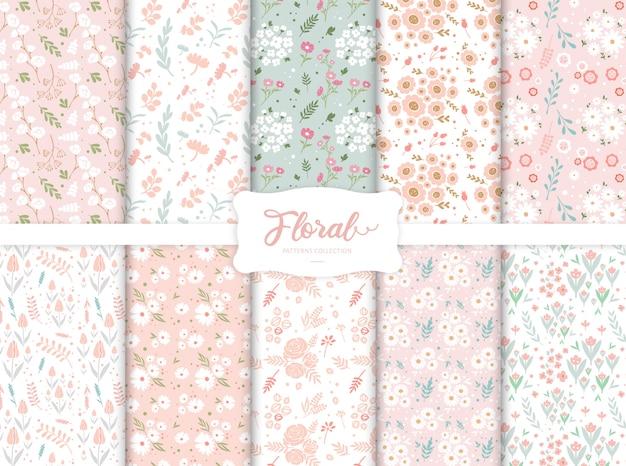 Collection De Motifs Floraux Colorés Sans Soudure Vecteur Premium