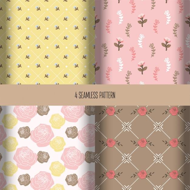 Collection de motifs floraux sans soudure Vecteur Premium