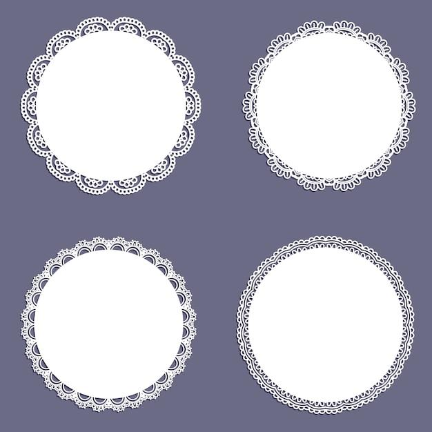 Collection De Motifs En Forme De Dentelle Circulaire Vecteur gratuit