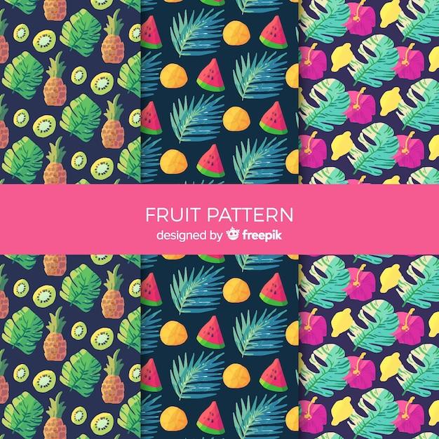 Collection de motifs de fruits tropicaux aquarelle Vecteur gratuit