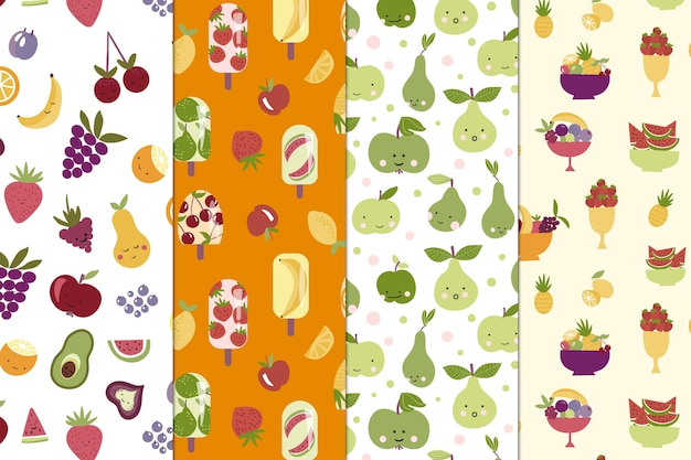 Collection De Motifs De Fruits Vecteur gratuit