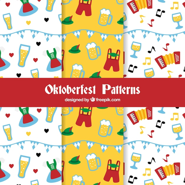 Collection de motifs fun oktoberfest Vecteur gratuit