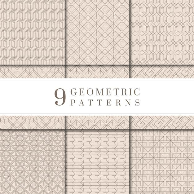 Collection de motifs géométriques beiges minimes Vecteur gratuit