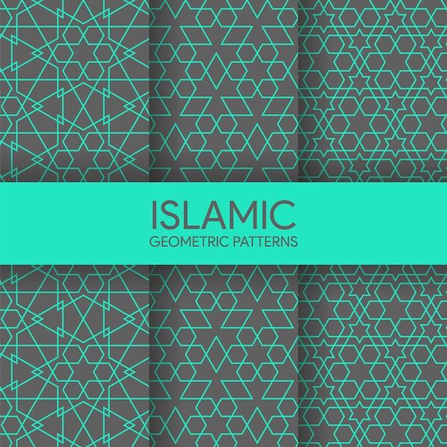 Collection de motifs géométriques islamiques sans soudure Vecteur Premium
