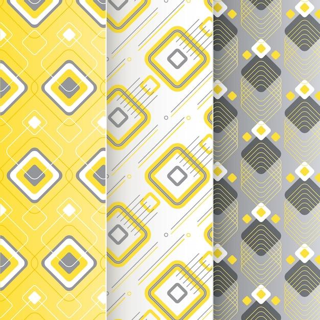 Collection De Motifs Géométriques Jaunes Et Gris Vecteur gratuit