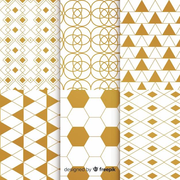 Collection de motifs géométriques de luxe en or Vecteur gratuit