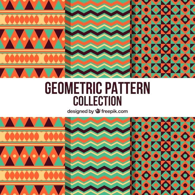 Collection de motifs géométriques avec style ethnique Vecteur gratuit