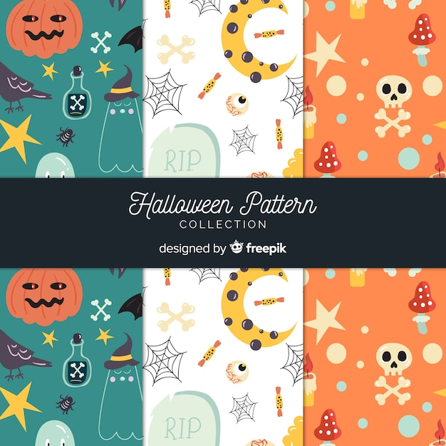 Collection de motifs d'halloween au design plat Vecteur gratuit