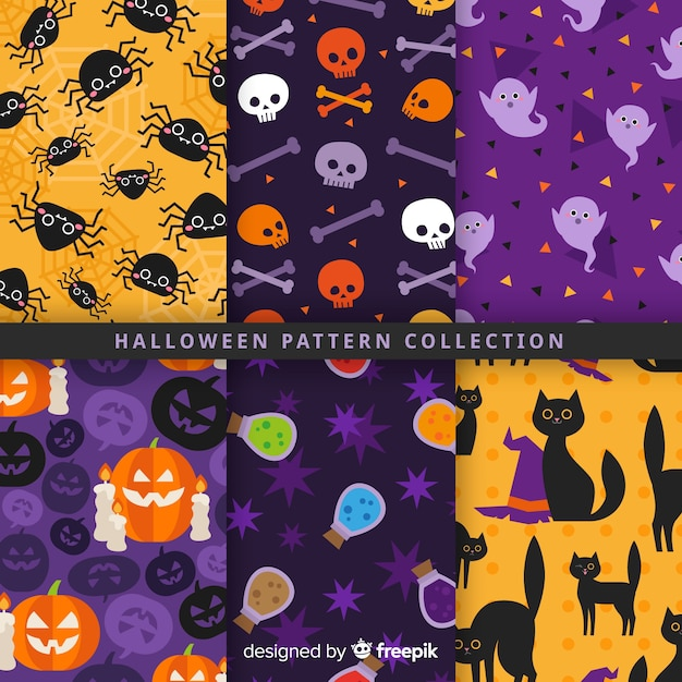 Collection de motifs d'halloween au design plat Vecteur gratuit