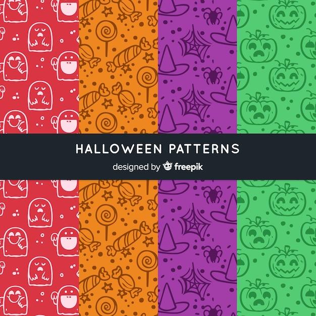 Collection de motifs d'halloween dessinés à la main colorée Vecteur gratuit