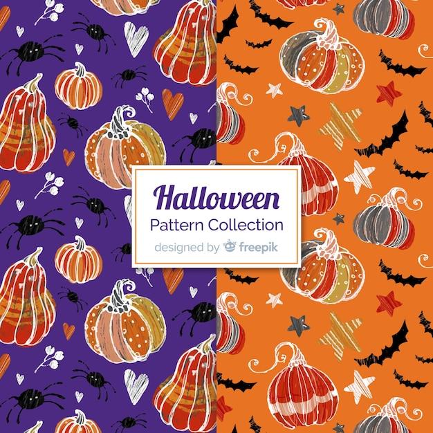Collection de motifs d'halloween dessinés à la main Vecteur gratuit