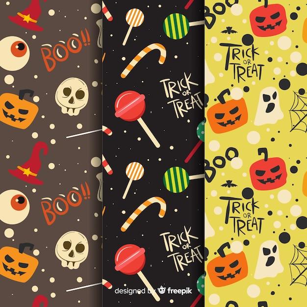 Collection de motifs halloween dessinés à la main Vecteur gratuit