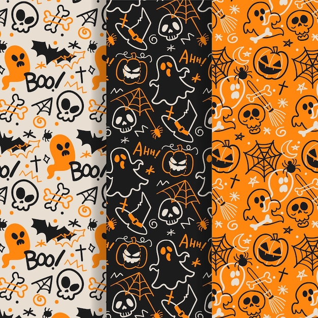 Collection De Motifs D'halloween Dessinés à La Main Vecteur Premium
