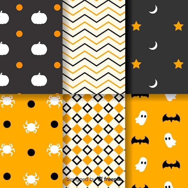 Collection de motifs halloween géométriques Vecteur gratuit
