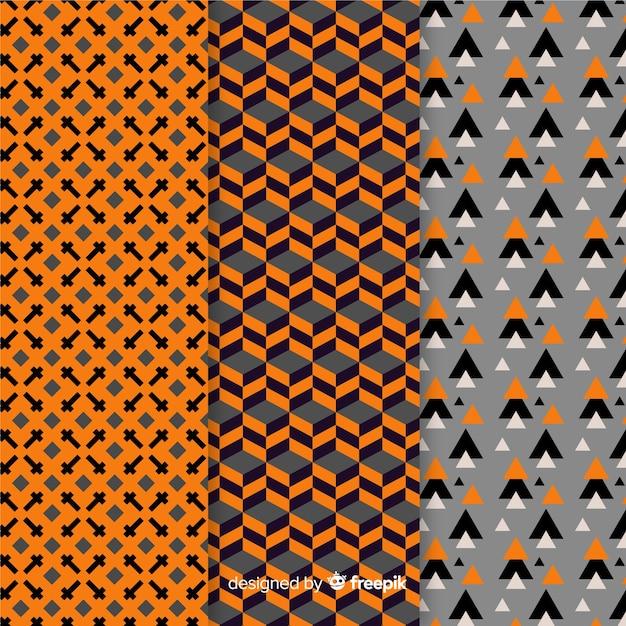 Collection de motifs d'halloween géométriques Vecteur gratuit