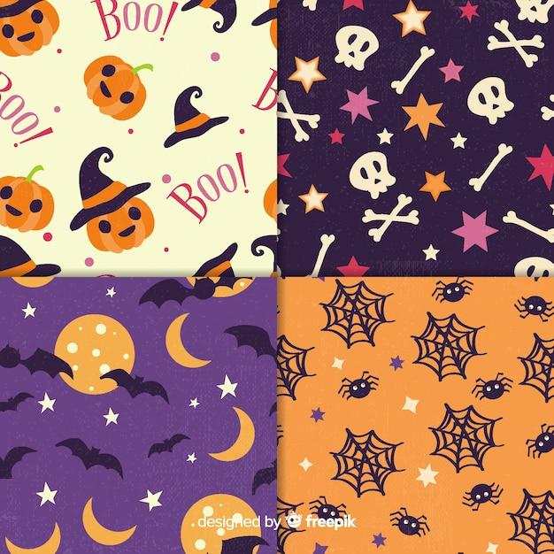Collection de motifs halloween vintage Vecteur gratuit