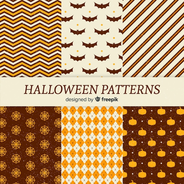 Collection de motifs halloween vintage Vecteur gratuit