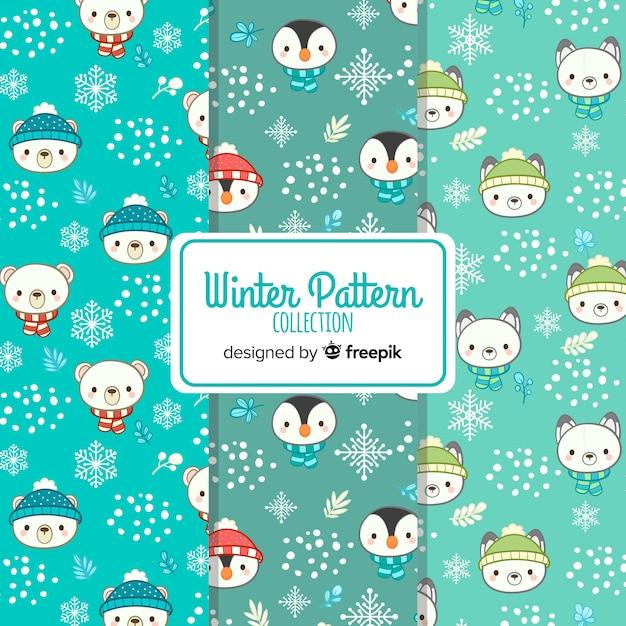 Collection de motifs hiver visages d'animaux Vecteur gratuit