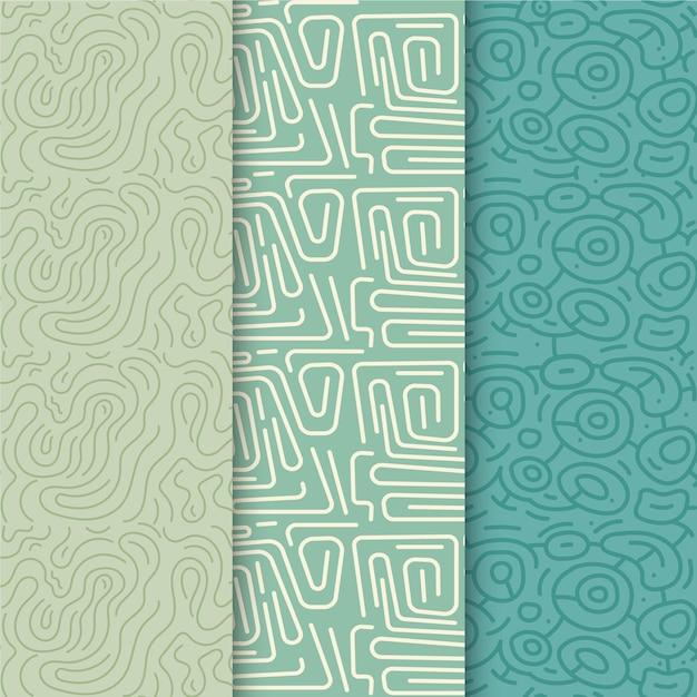 Collection De Motifs De Lignes Arrondies Bleues Vecteur Premium