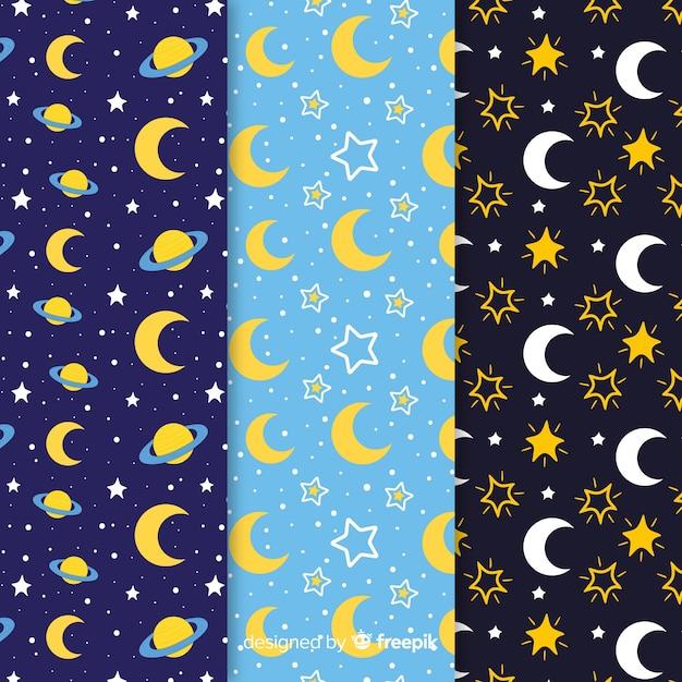 Collection de motifs de lune Vecteur gratuit