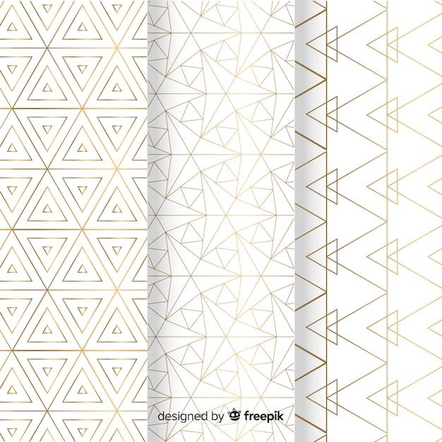 Collection De Motifs De Luxe Lumineux Géométrique Vecteur gratuit