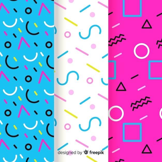 Collection de motifs memphis avec des formes géométriques Vecteur gratuit