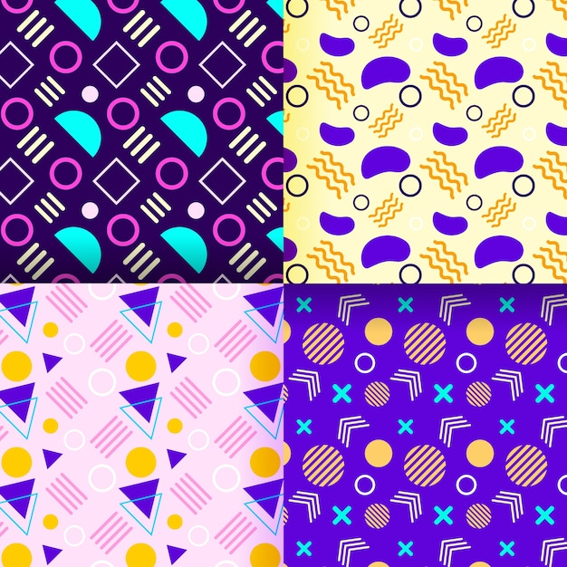 Collection de motifs memphis avec des motifs colorés Vecteur gratuit
