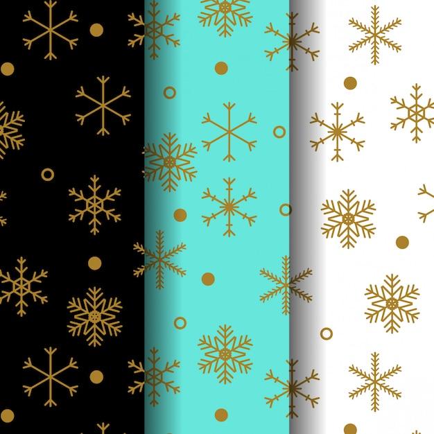Collection de motifs de neige dorée Vecteur Premium