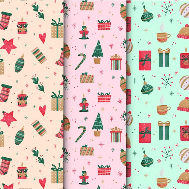 Collection De Motifs De Noël Aquarelle Vecteur gratuit