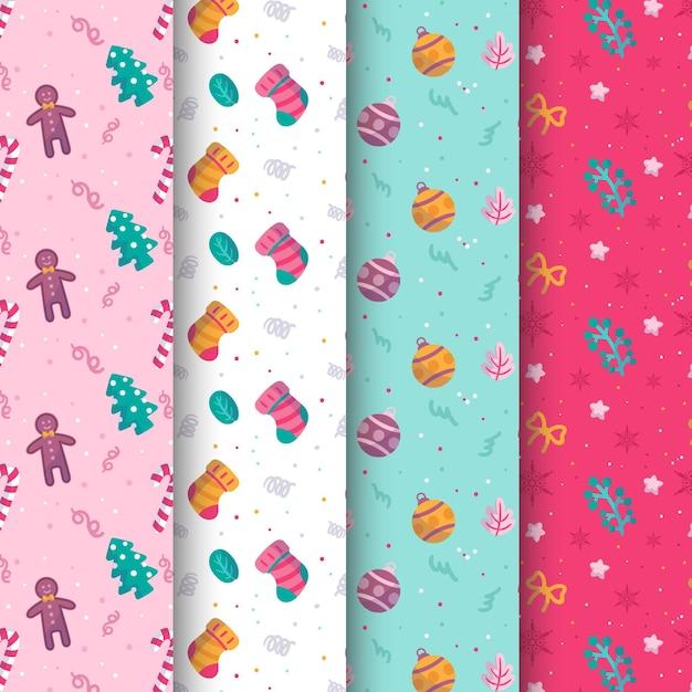 Collection De Motifs De Noël Design Plat Vecteur gratuit