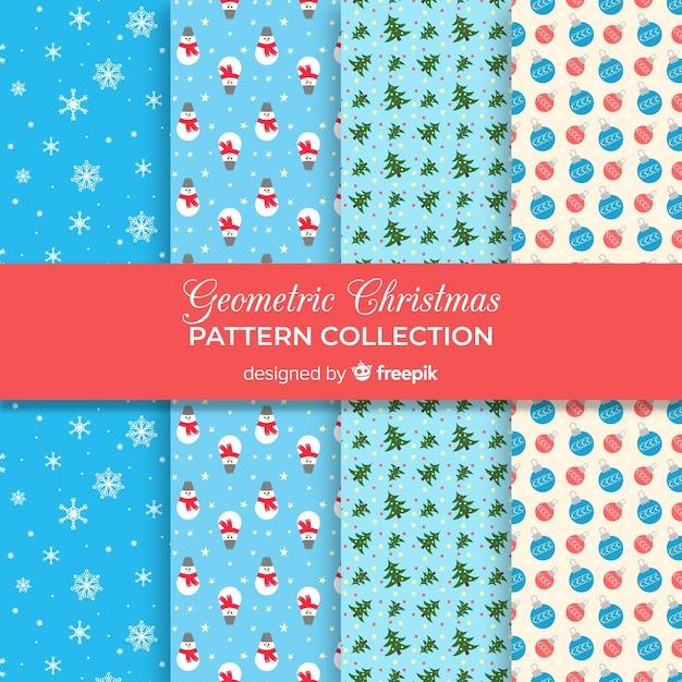 Collection de motifs de noël géométriques Vecteur gratuit