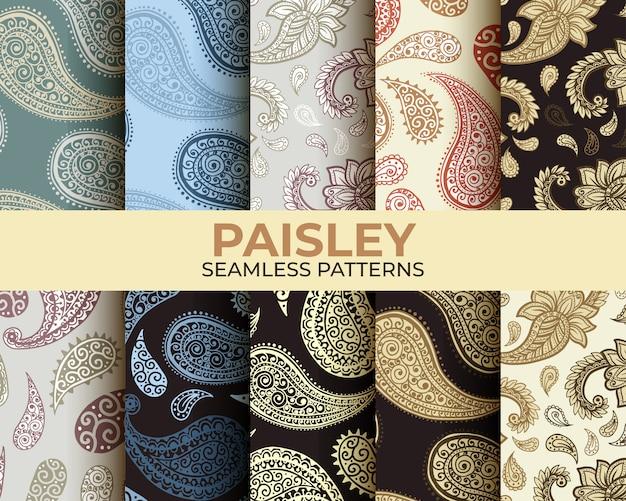Collection De Motifs Paisley Vecteur gratuit