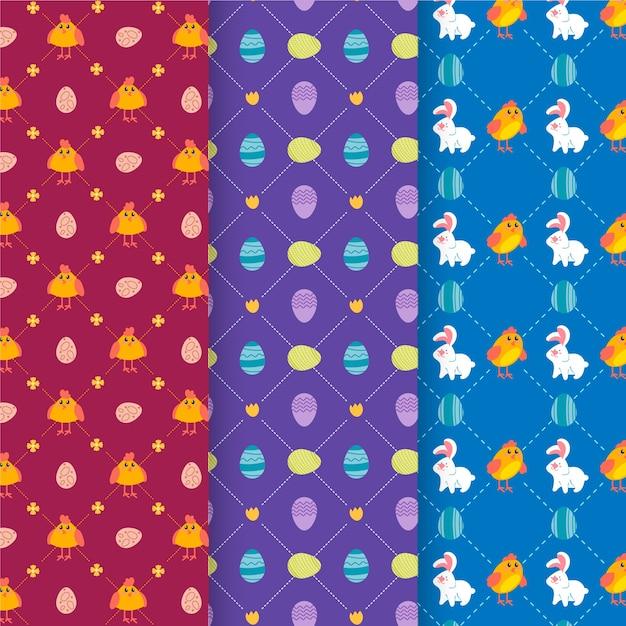 Collection De Motifs De Pâques Design Plat Vecteur gratuit
