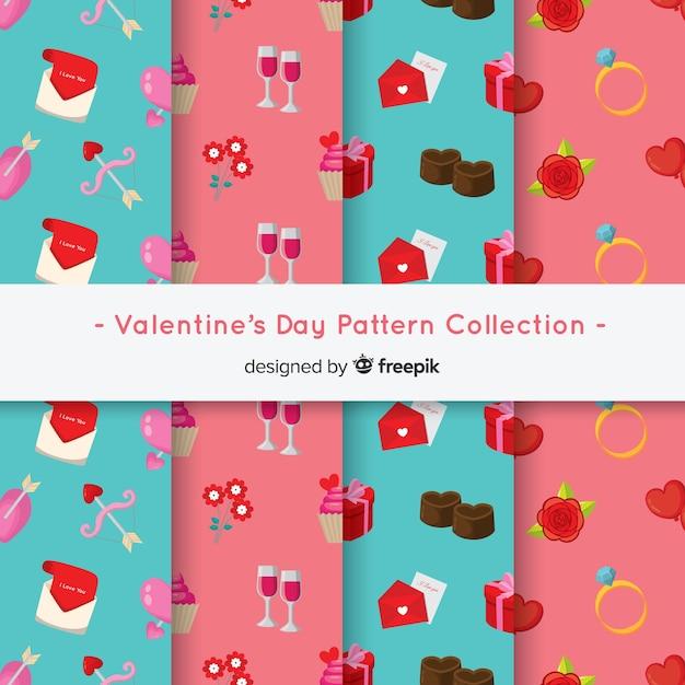 Collection de motifs plats pour la saint-valentin Vecteur gratuit