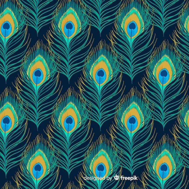 Collection de motifs de plumes de paon aquarelle Vecteur gratuit