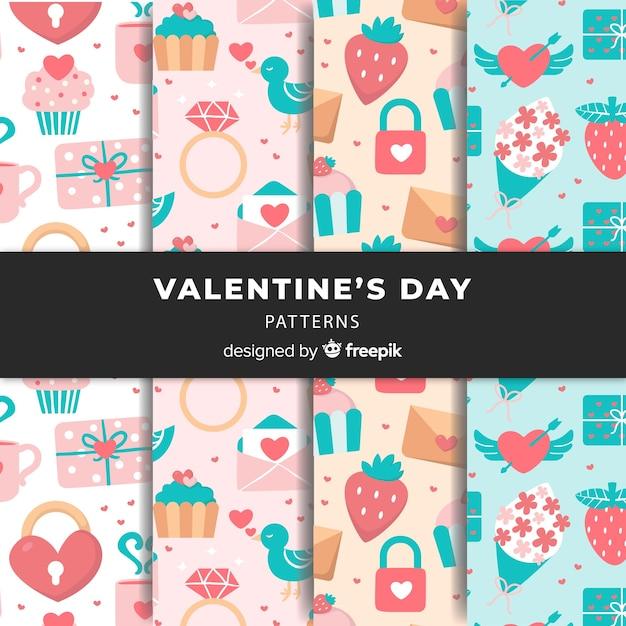 Collection de motifs pour la saint valentin de couleur pastel Vecteur gratuit