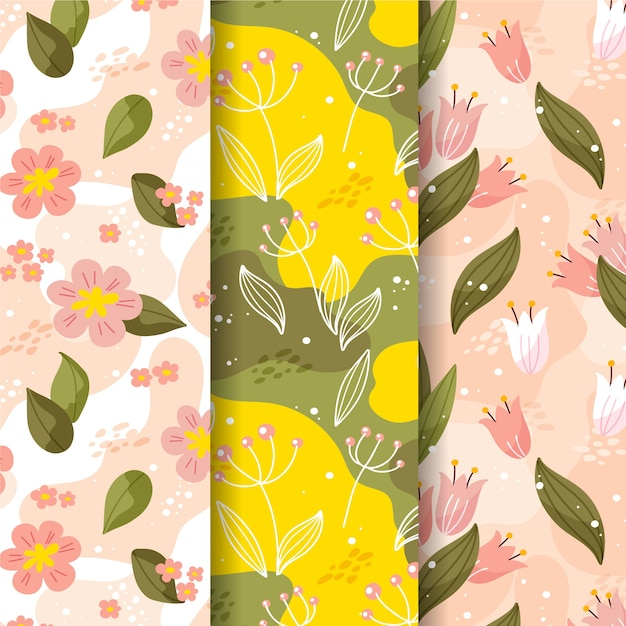 Collection De Motifs De Printemps Design Plat Vecteur gratuit