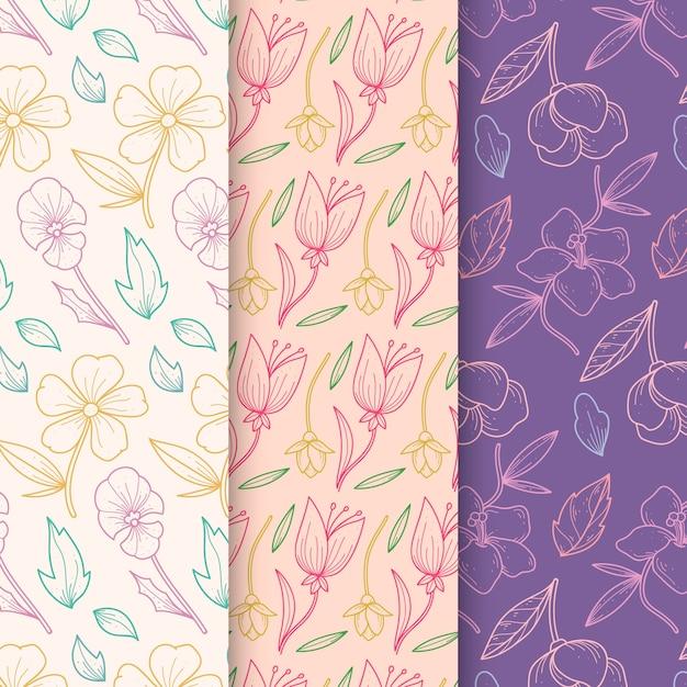 Collection De Motifs De Printemps Dessinés à La Main Dans Un Design Floral Vecteur gratuit