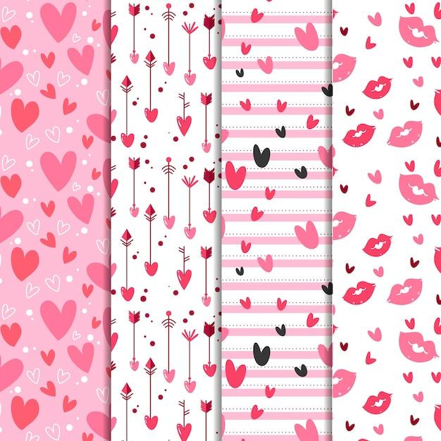 Collection De Motifs De Saint Valentin Dessinés à La Main Vecteur gratuit