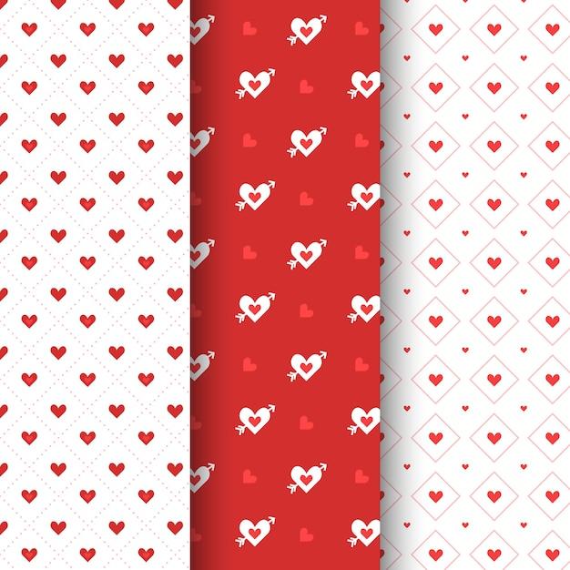 Collection de motifs de la saint-valentin plate Vecteur gratuit