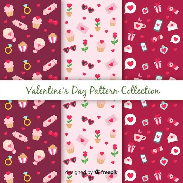 Collection de motifs saint-valentin Vecteur gratuit