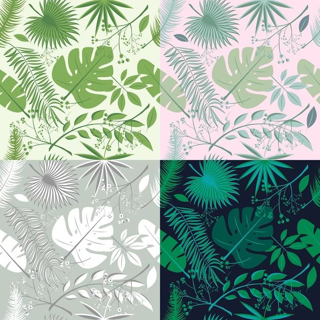 Collection De Motifs Sans Soudure Tropicaux Ensemble De Plantes
