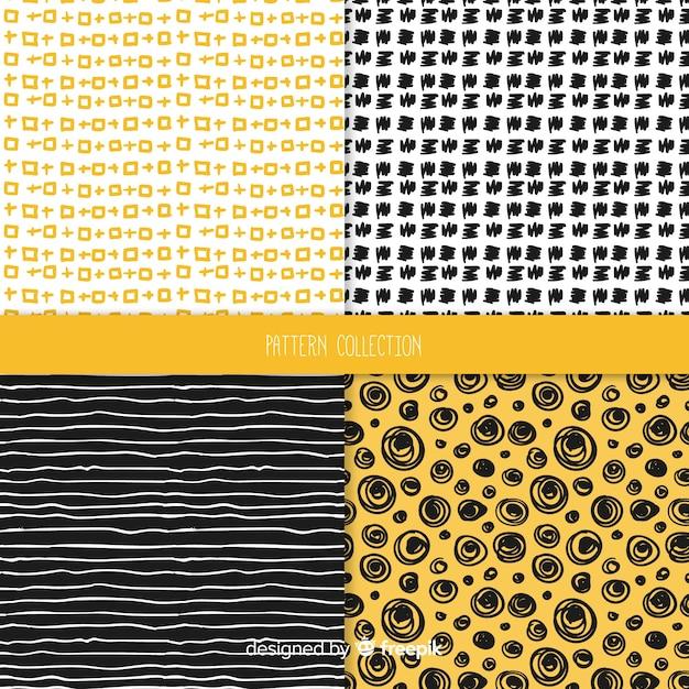 Collection de motifs de texture dessinés à la main Vecteur gratuit
